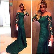 Lace Long Sleeve Emerald Green Evening Prom Dress Formal Party Cocktail Gown