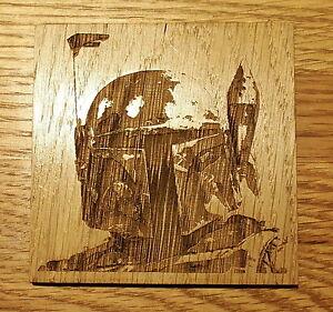 Star Wars Wooden Coaster Boba Fett Bounty Hunter Birthday Gift Mandalorian