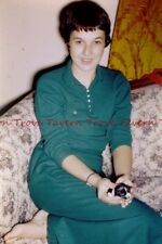 1950s Color Pretty Girl in Green with Bob Haircut Holds New Puppy 35mm slide K14
