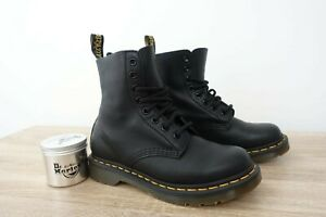 DR MARTENS WOMEN'S 1460 PASCAL VIRGINIA BLACK SOFT LEATHER ANKLE BOOTS UK3 + WAX