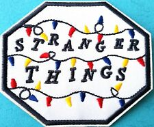 """Stranger Things Embroidered Patch Fairy Lights Quality Iron On 3.5"""" Octagagonal"""