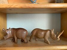 New listing Vintage Wood Hand Carved Hippo and Rhino