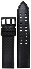22mm PM Black Carbon Fiber Style Watch Band w/Black Stitch & 2 Tang PVD Buckle