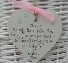Godmother/Christening wooden heart/plaque keepsake gift personalised 10cm