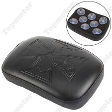 Black Cross Pillion Pad Seat 8 Suction Cup For Harley Sportster Dyna Softail XL