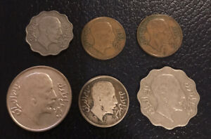 6 X IRAQ COINS 1931 SILVER  50 FILS AND 20 FILS AND BASE METAL 10, 4 AND 1 FILS.