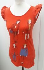 Denim Co Ladies Size 12 Orange Fashion Girl Print Tunic Top Spring Wear Primark