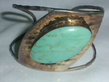 VINTAGE WIDE MEXICAN STERLING HUGE TURQUOISE CUFF BRACELET!