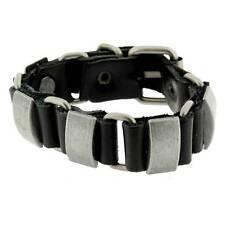 Black Leather Bracelet Wristband Silver Metal Hardware Linked w/ Buckle Biker