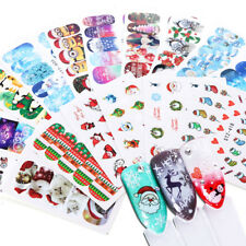 16 Sheets Nail Art Water Decals Stickers Snowman Xmas Christmas Watermark Decor