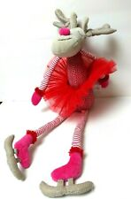 "Maison Chic Ice Skating Reindeer 16"" Glamour Diva Deer Plush Pink Vest Red Tutu"