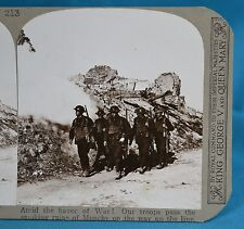 WW1 Stereoview Troops Pass Smoking Ruins Of Monchy Realistic Travels