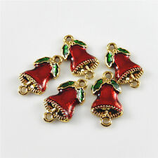 10 pcs Christmas Red Enamel Jingle Bell Look Charm Pendant Jewelry Making Crafts