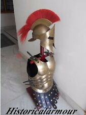 ARMOR HELMET 300 LEONIDAS SPARTAN W/ RED PLUME AND BRASS ANTIQUE MUSCLE JACKET""