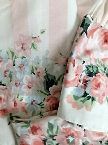 VTG~Westpoint Stevens~Pink~White Awning Stripe~Full Sheet Set~Flat~Fitted~Cases