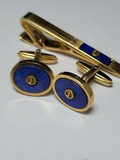 Vintage Dunhill, Gold Plated & Blue Enamelled Marble, Cufflinks and Tie Clip
