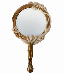 Vintage Hand Mirror Art Nouveau Nymph Cosmetic Mirror Female Figure Deco Mirror