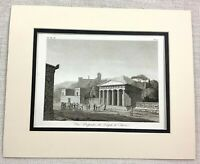 1821 Antique Engraving Ancient Greek The Temple of Hephaestus Greece Theseion