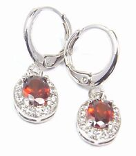 Women's 18 Carat White Gold plated Red Zircon Huggie Drop Dangle Earrings