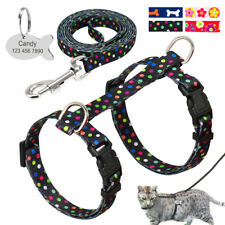 Cat Harness & Leash Personalized Cat ID Tags Free Engraved Kitten Strap Harness