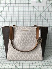Michael Kors Kimberly Top Zip Signature Vanilla Brown Large Tote 35t8gkft9v