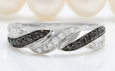 0.35CTW Natural Black and White DIAMOND in 14K Solid White Gold Women Ring