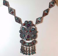 Vintage .925 Mexican Silver Chandelier Necklace Amethyst Turquoise Coral