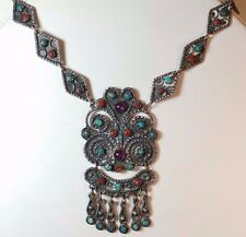 Necklace Amethyst Turquoise Coral Vintage .925 Mexican Silver Chandelier
