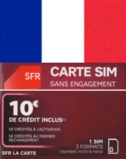 NEW, SFR, FRENCH, Trio sized SIM prepaid card/connection pack for FRANCE.
