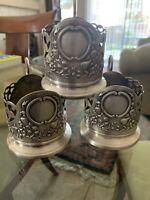 Vintage Podstakannik Russian Tea Glass Holder melchor silver plated.