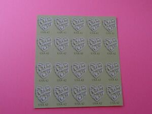 Stamps US * SC 4271a * Heart w/Light Green * 2008 * 42c * Pane of 20 * MNH