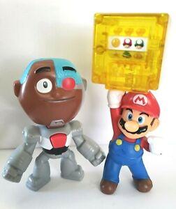 "Super Mario Bros 4.75"" Mario Power Block Figure w/ Teen Titan Go!: Cyberg"