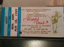 Grateful Dead, Mail Order Ticket Stub, Greek Theatre, Final shows, 1989, Jerry G