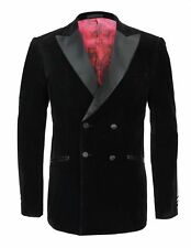 Mens Black Double Breast Jacket Stylish Wedding Dinner Party Wear Coat Blazer