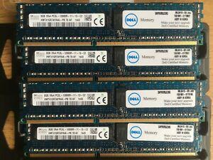 Dell Poweredge RAM 32GB (4x8GB) PC3-12800 ECC Reg 1600MHz R820 R720 R620 R520