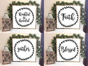 blessed, grateful, faith Farmhouse Style Family sign Home Decor Print 20 x 20 cm