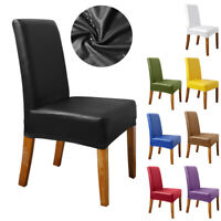 1-10Pcs PU Leather Stretch Dining Room Chair Cover Wedding Banquet Seat Covers