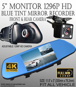 "5"" HD 1296P 4K Dual Lens Car DVR + Rearview Mirror Video Camera Night Vision I35"