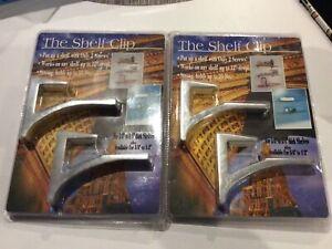 "2x The Shelf Clip Chrome Floating Clips Shelves 5/8"" - 3/4"" Thick 12"" D 80 Lbs"