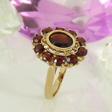 Ring in 333/- Gelbgold mit Granat Edelsteinen - Gr. 53