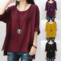 Womens Long Sleeve T Shirt Casual Round Neck Split Loose Tops Blouse Plus Size