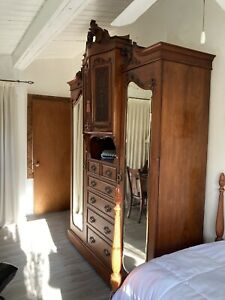 Wardrobe-Antique French Armoire Closet And Beveled Mirror cabinets-drawers