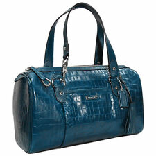 AUTH COACH AVERY CROC LEATHER TASSEL LARGE SATCHEL BAG PURSE F26123 PEACOCK $498
