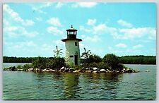 Lake Cobbosseecontee Ladies Delight Lighthouse, Maine Chrome Postcard Unused