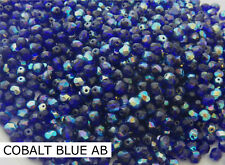 1200 PCS WHOLESALE 6mm CZECH GLASS FIRE POLISHED BEADS - COBALT BLUE AB