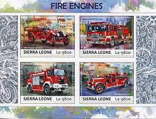 Sierra Leone 2017 MNH Fire Engines Trucks Mack American LaFrance 4v M/S Stamps