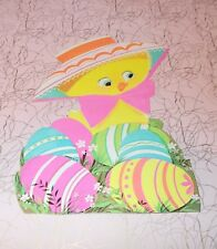 "Vtg Eureka Easter Duck Hat Eggs Pink Bow Die Cut Cardboard Decoration 7"""