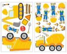23-teiliges Bagger LKW Wandtattoo Set Kinderzimmer Aufkleber Baustelle Sticker