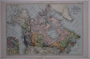 1910 ORIGINAL MAP DOMINION OF CANADA BRITISH COLUMBIA ALBERTA MANITOBA QUEBEC