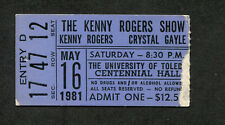 Original 1981 Kenny Rogers Crystal Gayle concert ticket stub Toledo OH